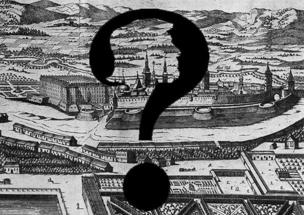 Černobílá historická kresba města Kroměříže