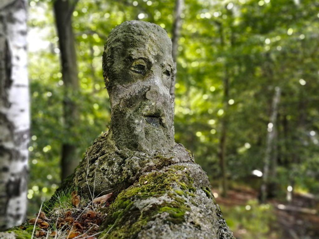 Skála vytesaná do tvaru obličeje v okolí lesního penzionu Bunč