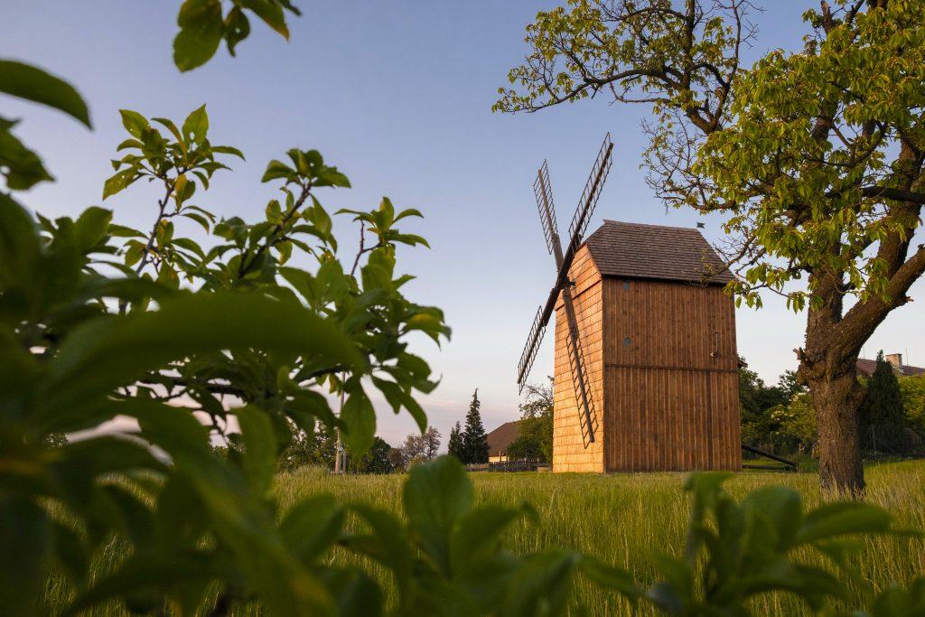 Větrný mlýn a okolní příroda při západu slunce